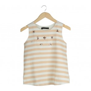Zara Off White And Nude Striped Beaded Sleeveless