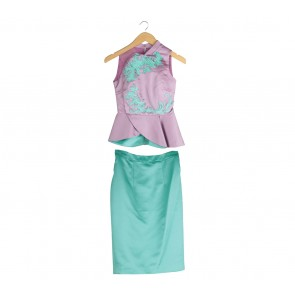 Sissae Purple And Turquoise Top And Skirt Two Piece