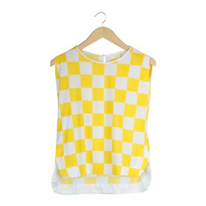 Zara White And Yellow Sleeveless