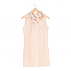 Snidel Peach Sequins Sleeveess Mini Dress