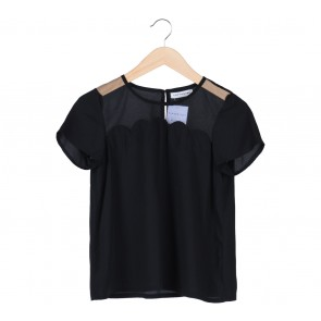 Cotton Ink Black Sheer Scallop Blouse