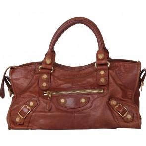 Balenciaga Brown Pleine Fleur Aniline Handbag