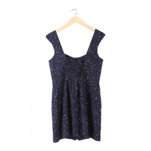 BCBGeneration Dark Blue Sleeveless Patterned Mini Dress