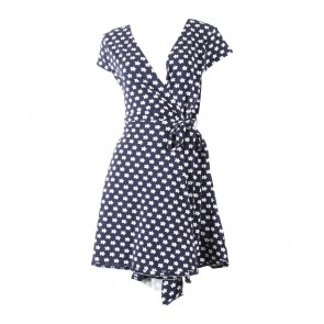 Dorothy Perkins Dark Blue And White Floral Wrap Mini Dress