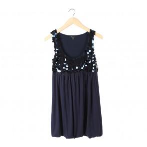 Forever 21 Dark Blue Sleeveless Sequin Mini Dress