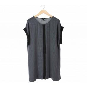 H&M Dark Blue Patterned Mini Dress
