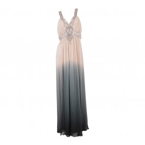 Sue Wong Peach And Dark Grey Beaded Long Dress
