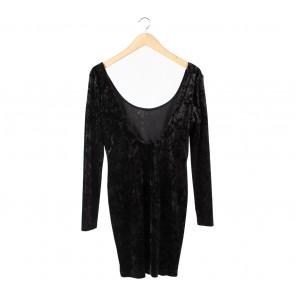 Topshop Black Low Back Midi Dress