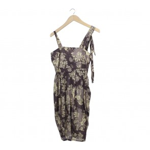 (X)SML Brown Floral Midi Dress
