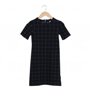 Divided Black Plaid Textured Mini Dress