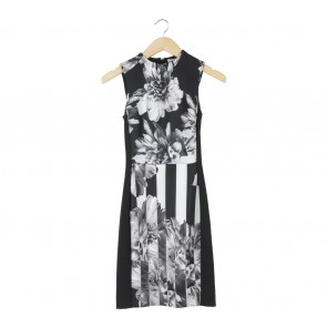 H&M Black And Grey Floral Sleeveless Midi Dress