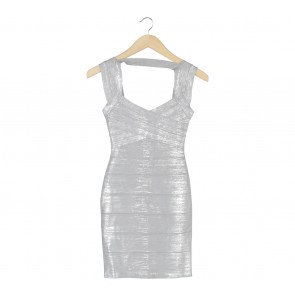 Herve Leger Grey Sleeveless Mini Dress