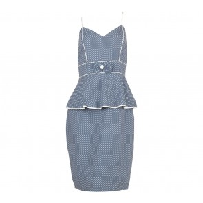 Kitten D´Amour Blue And White Polka Dot Sleeveless Peplum Midi Dress