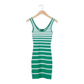 Mango Green And White Striped Sleeveless Mini Dress