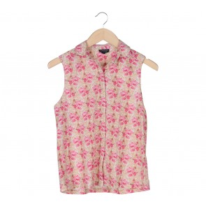 Topshop Cream And Pink Floral Sleeveless