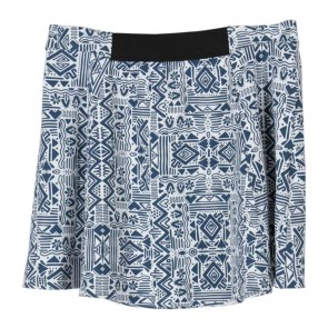 Zara White And Dark Blue Tribal Skirt