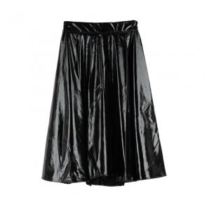 Black Faux Leather Midi Skirt