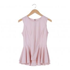 (X)SML Pink Peplum Sleeveless Blouse