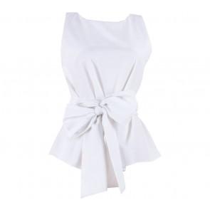 Shop At Velvet White Giant Bow Sleeveless Blouse