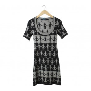 French Connection Black And Grey Patterned  Midi Dress