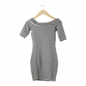 River Island Black And White Striped Mini Dress