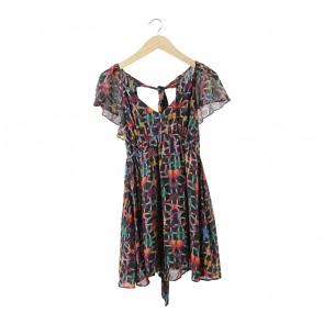 Topshop Multi Colour Butterfly Mini Dress