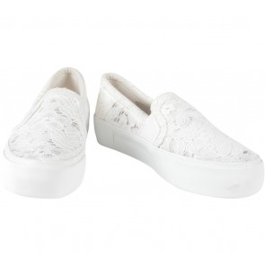 Bershka White Lace Slip On Sneakers