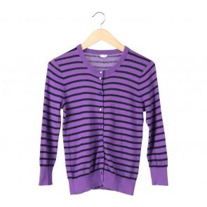 J-Crew Purple Striped Cardigan
