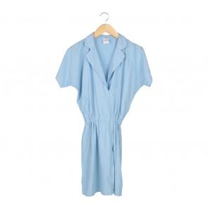 Petite Cupcake Blue Wrap Midi Dress