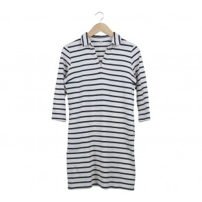 UNIQLO Off White And Dark Blue Mini Dress