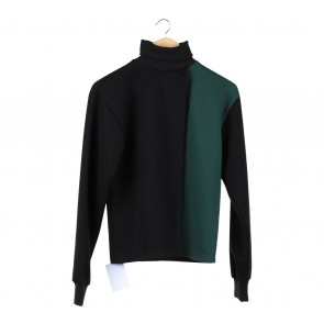 Pomelo. Black And Green Turtleneck Blouse