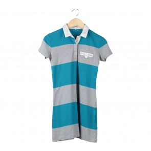 Lacoste Blue And Grey Collared Mini Dress