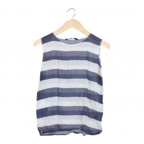 Shop At Velvet Blue And White Striped Blouse