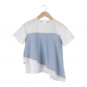 Cotton Ink Blue And Off White Striped Asymmetric Blouse