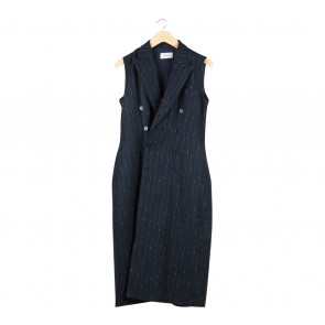 I.K.Y.K Dark Blue And White Sleeveless Patterned Outerwear
