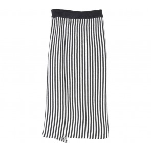 Endless Rose Black And White Striped Back Slit Skirt