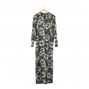 First And I Multi Colour Floral Slit Long Dress