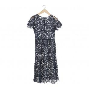 NA-KD Dark Blue Lace Midi Dress