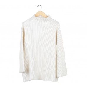 Pomelo. Off White Linen Turtleneck Sweater