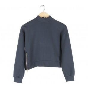 Pomelo. Dark Blue Cropped Sweater