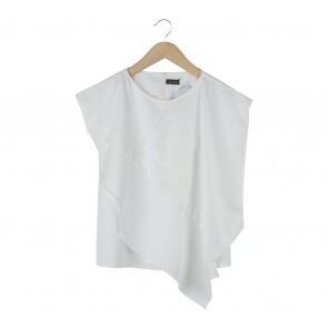 SAUL Off White Asymmetric Sleeveless