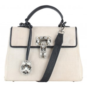Exotica Cream And Black Handbag