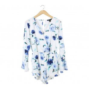 Forever 21 White And Blue Floral Jumpsuit