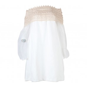 Jolie Off White And Gold Bold Neck Mini Dress