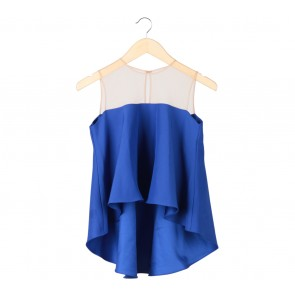 N.Y.L.A Blue And Cream Sleeveless Combi Blouse