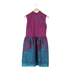 Sissae Purple Patterned Midi Dress