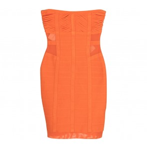 Herve Leger Orange Tube Mini Dress