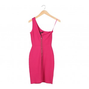 BCBG Maxazria Pink One Shoulder Mini Dress
