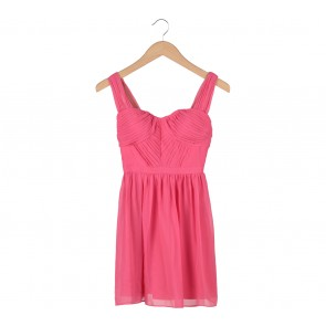 Aqua Pink Sleeveless Pleated Mini Dress