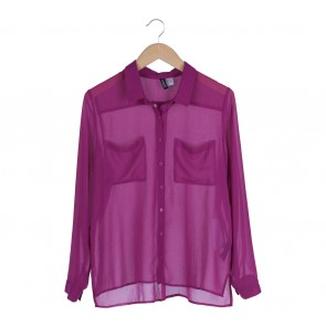 Divided Purple Double Pocket Blouse